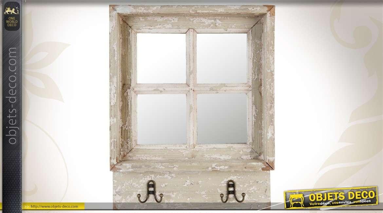 Miroir fen tre ronde lucarne ancienne patine gris antique - Deco avec miroir mural ...