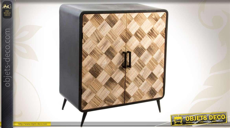 buffet contemporain en bois et en m tal. Black Bedroom Furniture Sets. Home Design Ideas