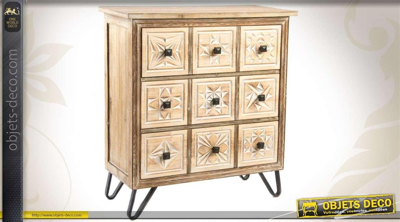 commode en bois finition d cap e avec 3 tiroirs. Black Bedroom Furniture Sets. Home Design Ideas