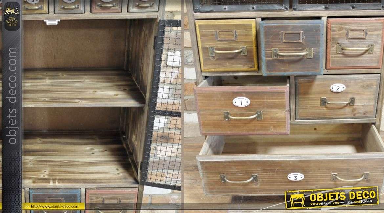 Armoire de métier en bois de style rétro