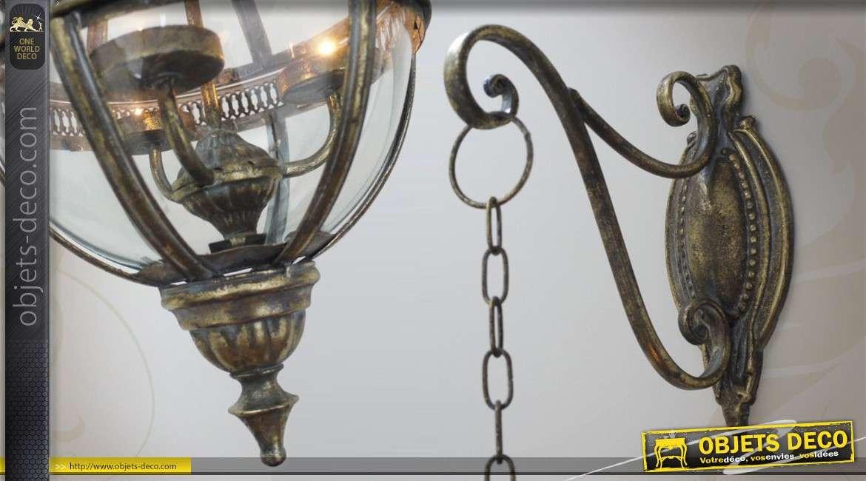 lanterne sph rique en m tal et en verre de style ancien. Black Bedroom Furniture Sets. Home Design Ideas