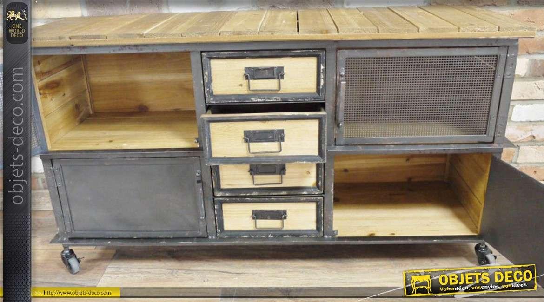 Buffet de style indus en bois et en métal