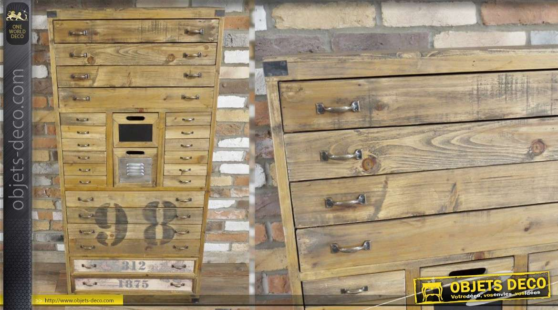 Meuble industriel et rétro en bois vieilli avec tiroirs