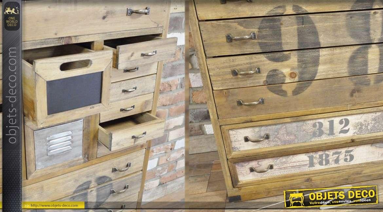 Meuble industriel et r tro en bois vieilli avec tiroirs for Meuble bois vieilli