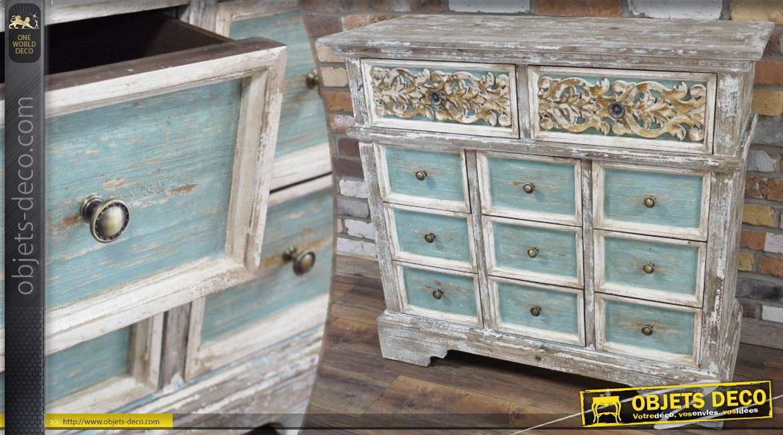 Commode en bois de style ancien patin e blanc et bleu vieillis - Meubles blancs vieillis ...