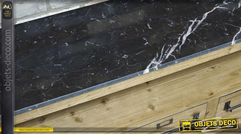 meuble tv en bois brut et marbre. Black Bedroom Furniture Sets. Home Design Ideas