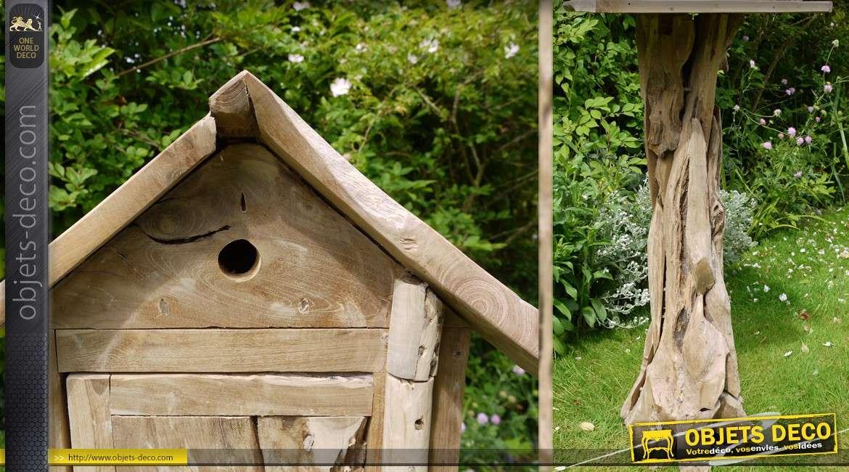 Maison D Oiseaux Sur Pied En Bois Naturel