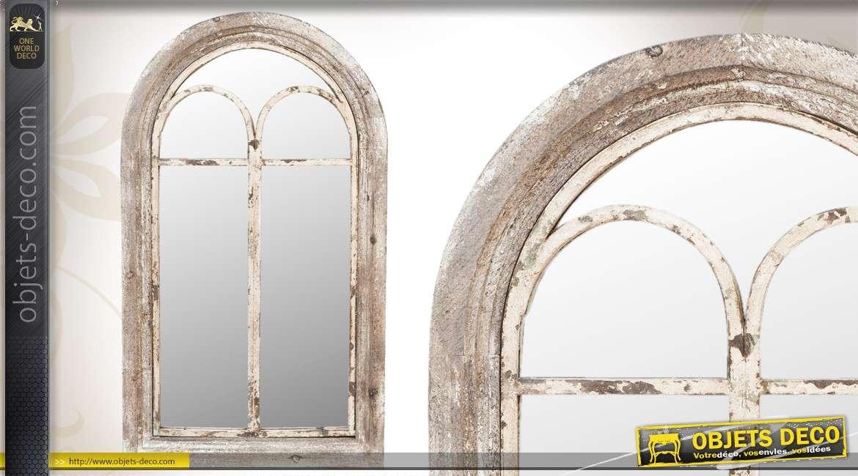 Miroir mural avec volets en bois patin blanc ancien for Miroir blanc vieilli