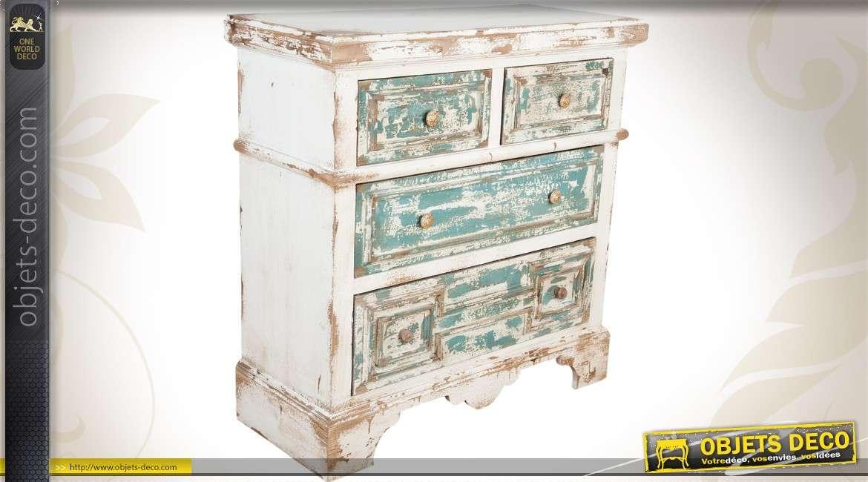 commode en bois de style ancien patin e blanc et bleu finition vieillie. Black Bedroom Furniture Sets. Home Design Ideas
