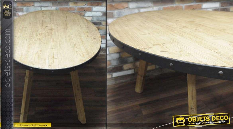 Table Ovale De Style Industriel En Bois Et En Metal