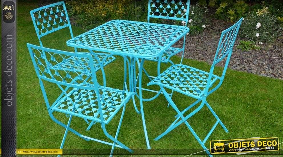 Salon de jardin 5 pièces bleu turquoise en fer forgé