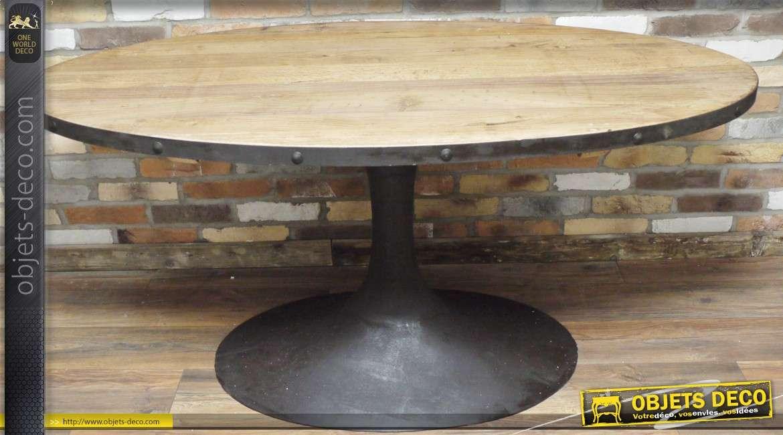 en et Table ovale forme de métal bois industrielle en 54Rq3LAj