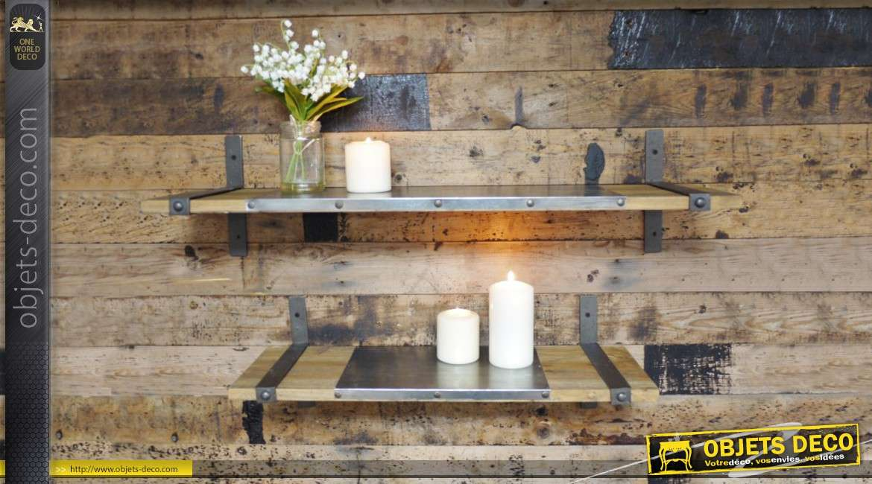 s rie de 2 tag res murales en bois et m tal. Black Bedroom Furniture Sets. Home Design Ideas