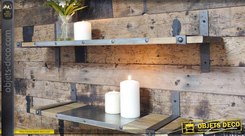 Série de 2 étagères murales en bois et métal