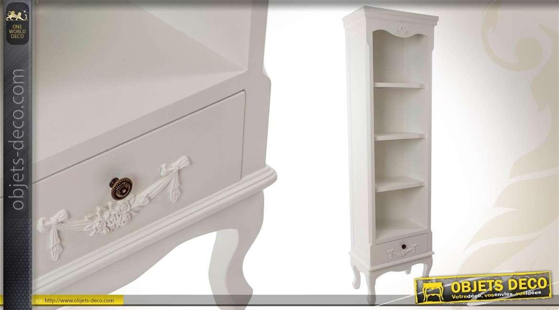 Biblioth que en bois de style shabby chic coloris blanc for Objet deco shabby