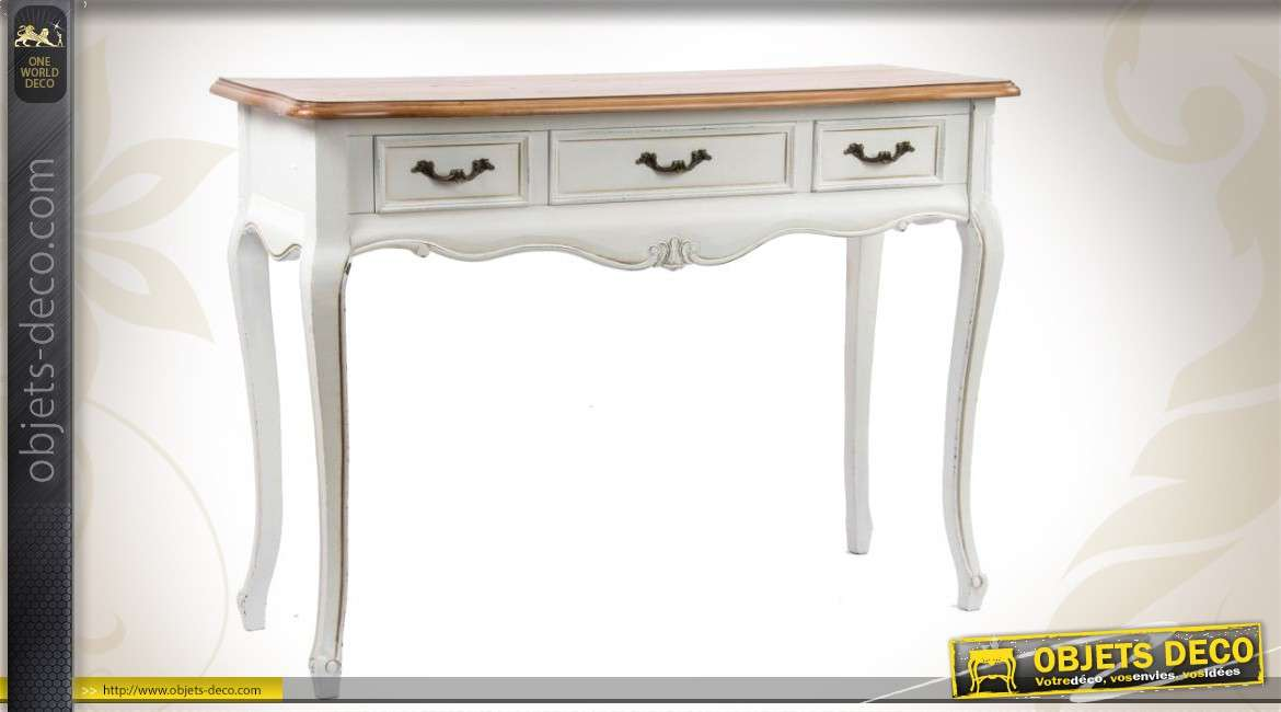 console de style ancien pourvue de 3 tiroirs. Black Bedroom Furniture Sets. Home Design Ideas