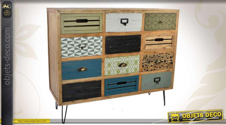 commode scandinave en bois et en m tal. Black Bedroom Furniture Sets. Home Design Ideas