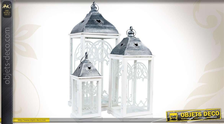 lanterne en bois et m tal chrom 35 cm style bord de mer. Black Bedroom Furniture Sets. Home Design Ideas