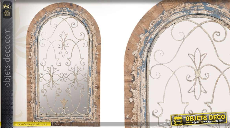 Miroir fen tre mural en bois patin finition ancienne - Miroir decoratif mural ...