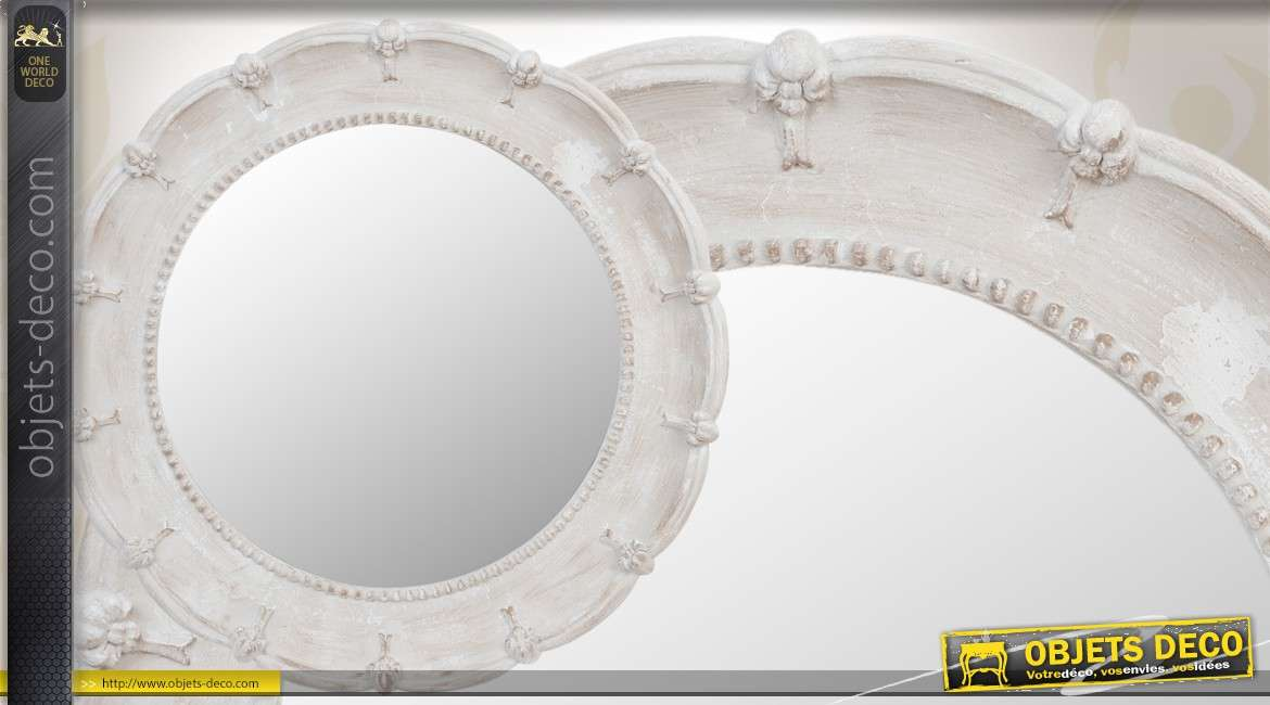 miroir mural rond en m tal dor effet ondul 93 cm. Black Bedroom Furniture Sets. Home Design Ideas