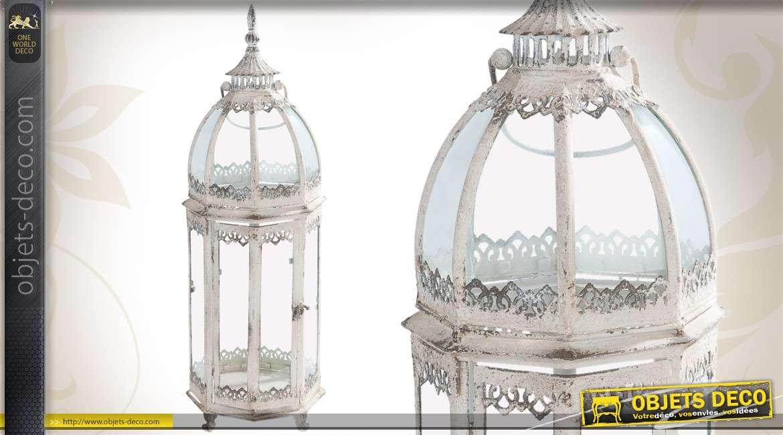 lanterne ethnique en m tal et verre jaune vieilli. Black Bedroom Furniture Sets. Home Design Ideas