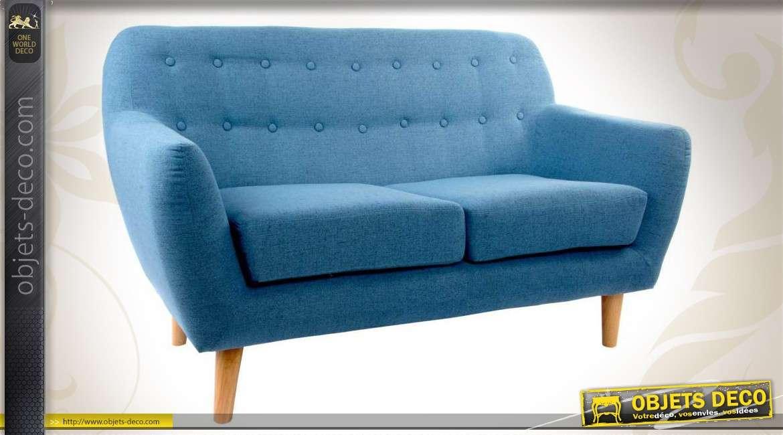 canap 2 places de style scandinave coloris bleu. Black Bedroom Furniture Sets. Home Design Ideas