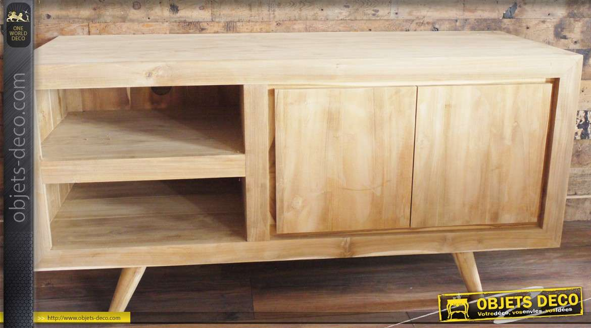 meuble tv en bois finition naturelle de style contemporain