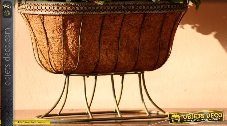 jardini re berceau en m tal ancien et fibre de coco. Black Bedroom Furniture Sets. Home Design Ideas