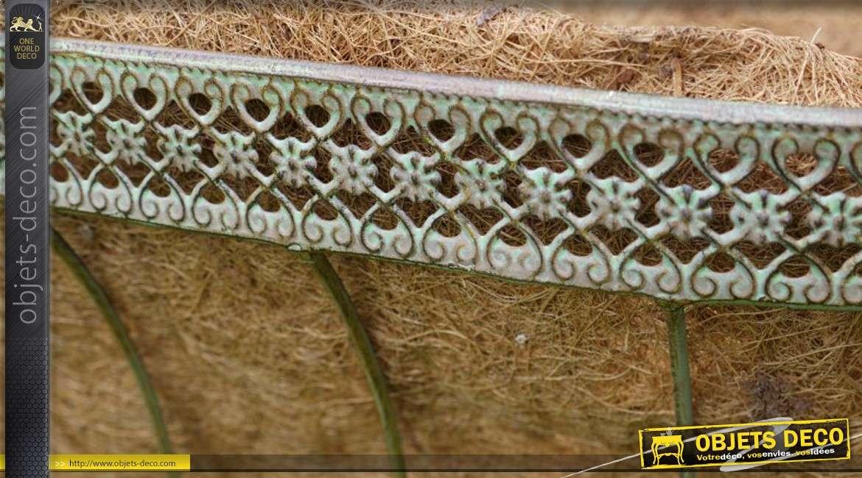 Jardinière-berceau en métal ancien et fibre de coco