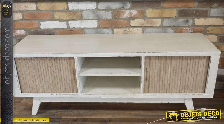 Meuble TV rétro en bois coloris blanc patiné