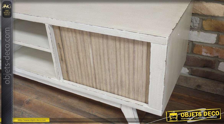 meuble tv r tro en bois coloris blanc patin. Black Bedroom Furniture Sets. Home Design Ideas