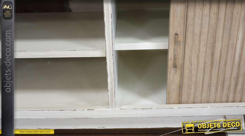 meuble tv rtro en bois coloris blanc patin - Meuble Tv Blanc Patine