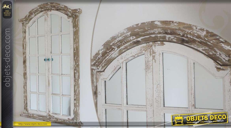 Miroir fen tre en forme d 39 arche en m tal vieilli et en verre for Miroir en forme de fenetre