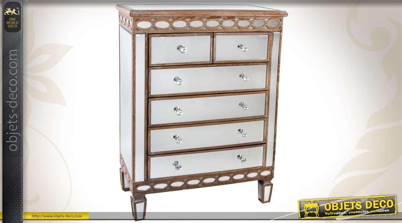 commode en bois et miroir de style art d co. Black Bedroom Furniture Sets. Home Design Ideas