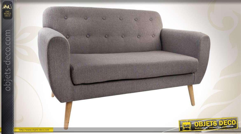 canap scandinave 2 places en bois et tissu. Black Bedroom Furniture Sets. Home Design Ideas