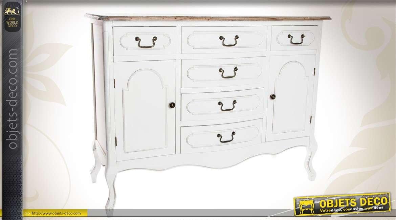 buffet en bois de style campagne chic coloris blanc. Black Bedroom Furniture Sets. Home Design Ideas
