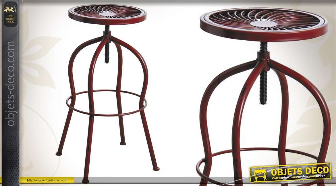 tabouret de bar r tro rouge antique hauteur r glable. Black Bedroom Furniture Sets. Home Design Ideas