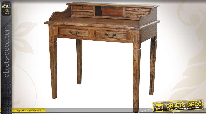 Bureau en bois de style ancien finition cire d'antiquaire