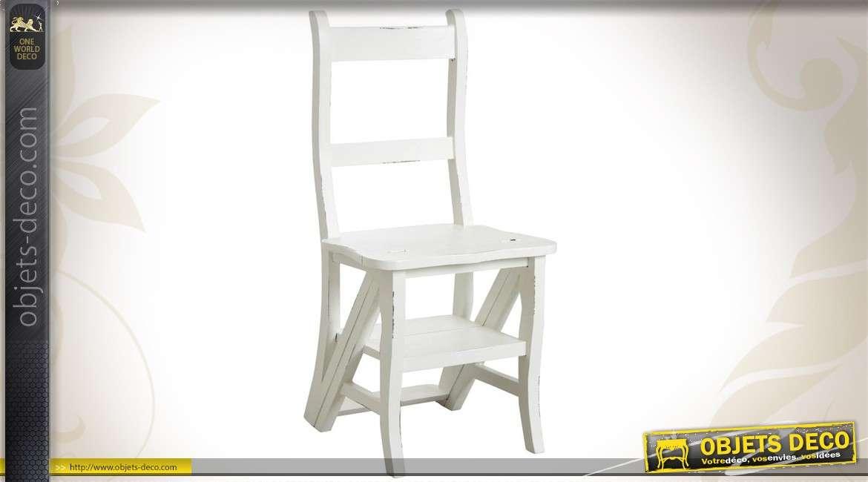 Chaise de bibliothèque en bois coloris blanc