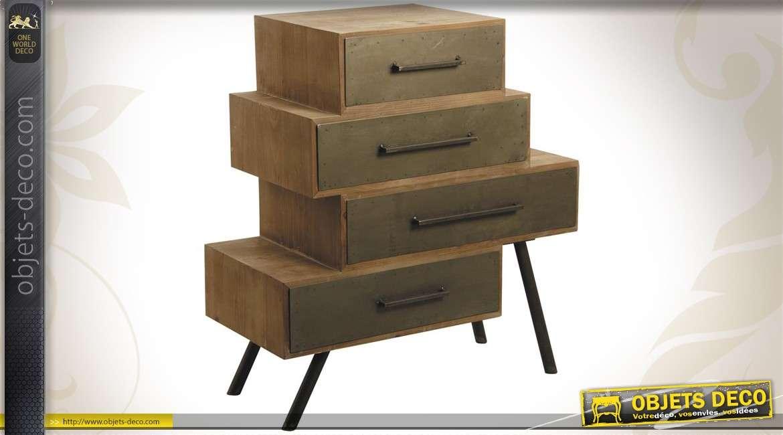 Chiffonnier design en bois et en métal à 4 tiroirs