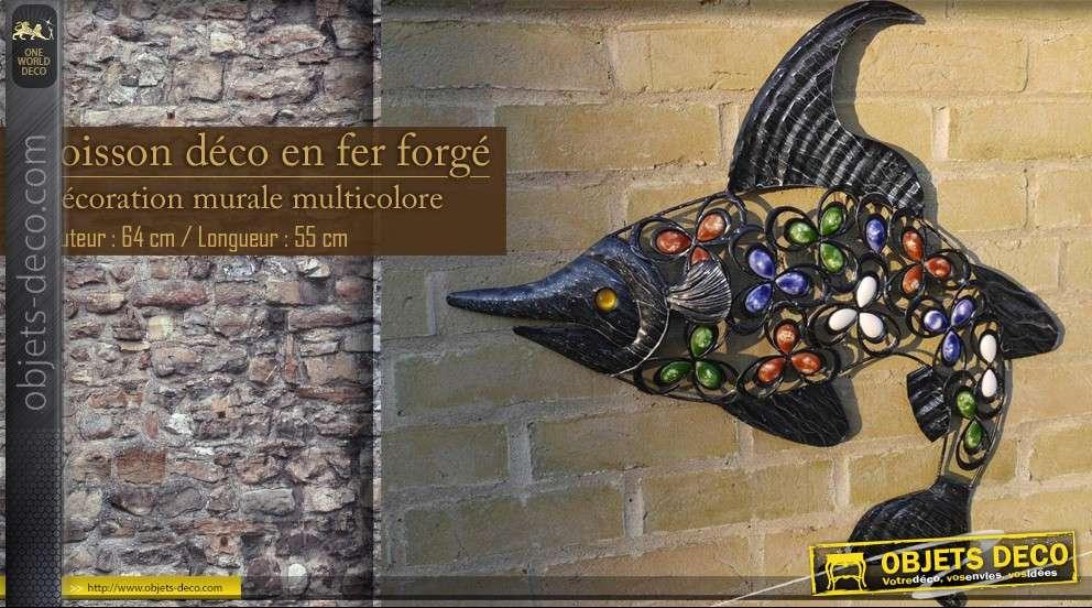 Grand poisson d coratif en fer forg - Deco murale fer forge ...