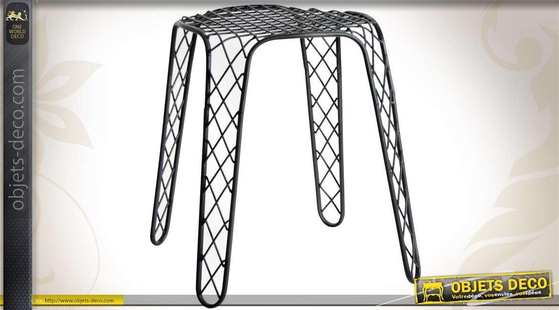 Tabouret design en métal laqué noir