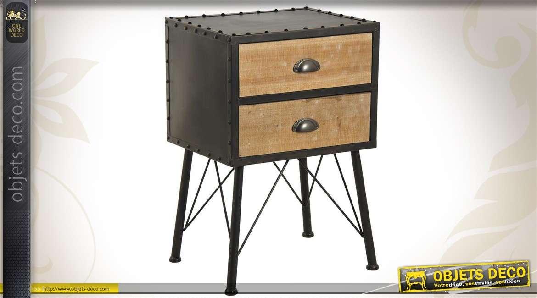 table de chevet de style industriel en m tal et en bois. Black Bedroom Furniture Sets. Home Design Ideas