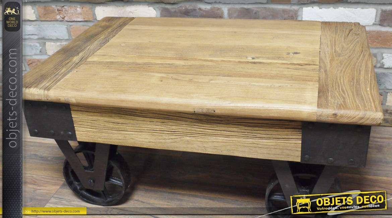 premier taux 60d47 88123 Table basse industrielle à roulettes