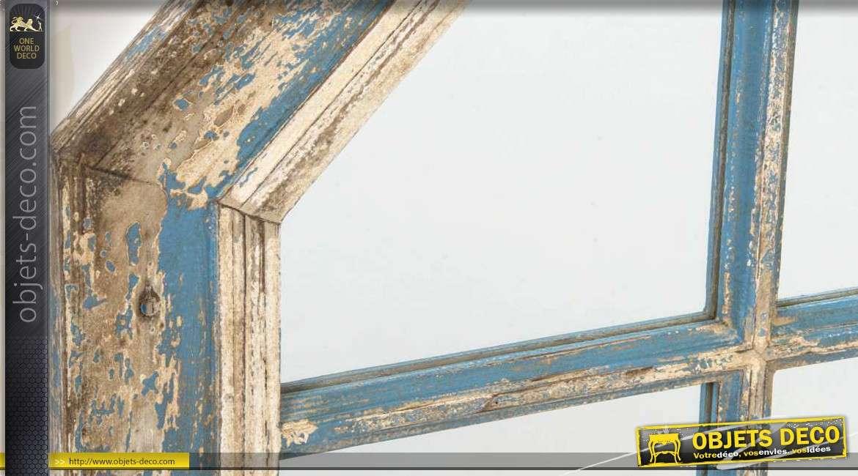 Miroir mural hexagonal en bois vieilli for Miroir vieilli