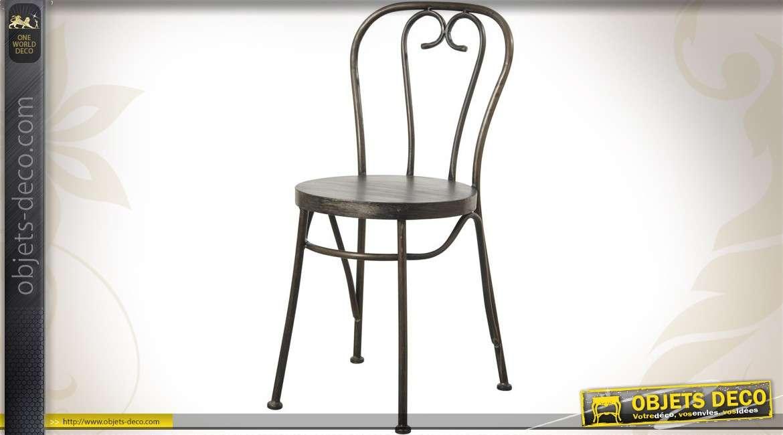 Chaise vintage de type bistrot coloris noir patiné