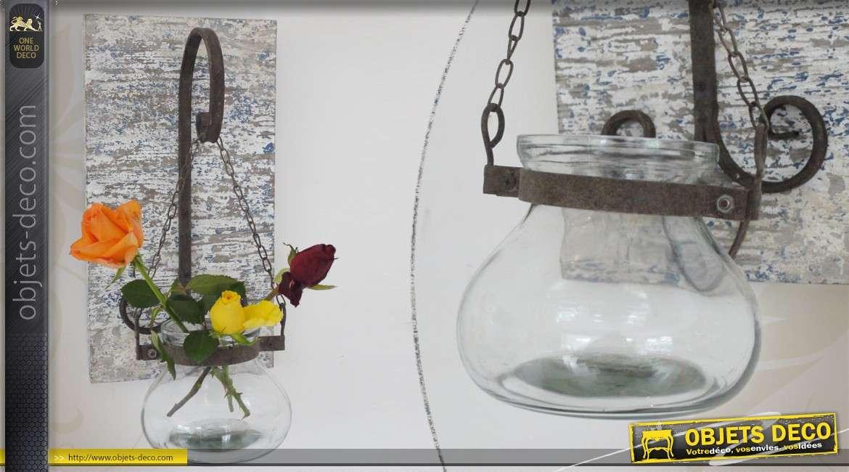 Vase suspendu en verre avec potence murale