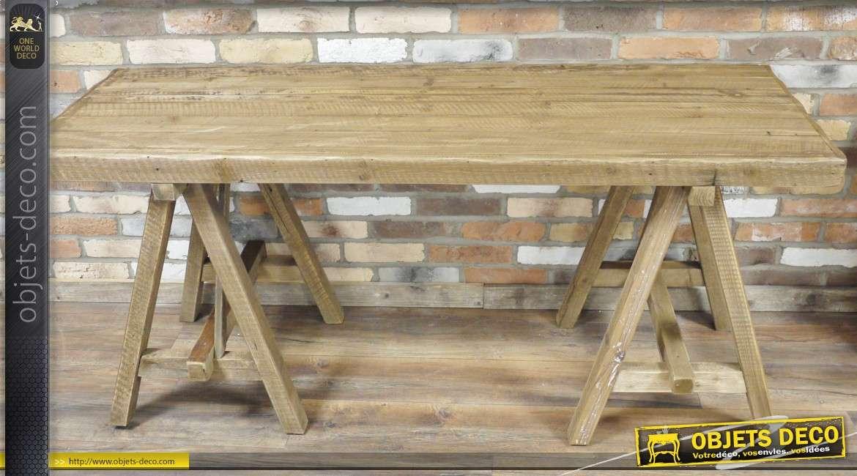 grande table en bois massif finition naturelle
