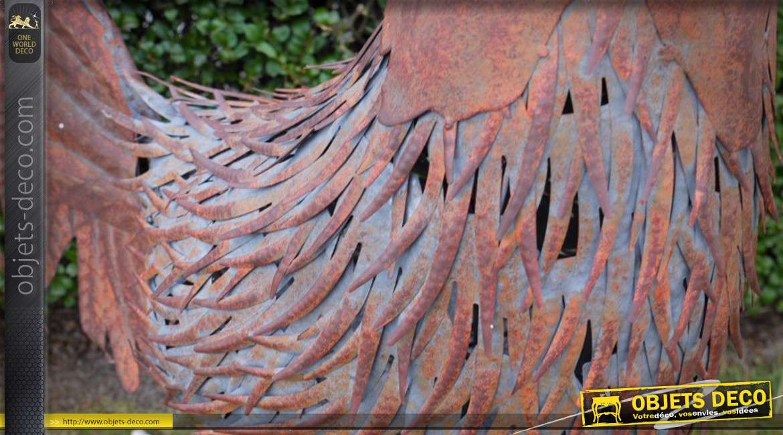 Grand coq décoratif en métal finition oxydée
