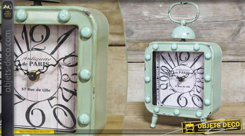 Horloge de table vintage en métal vieilli